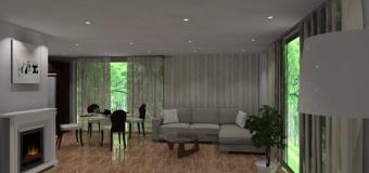 Aranżacja – projekt salonu wystrój nowoczesny w kolorze wanilia, brąz