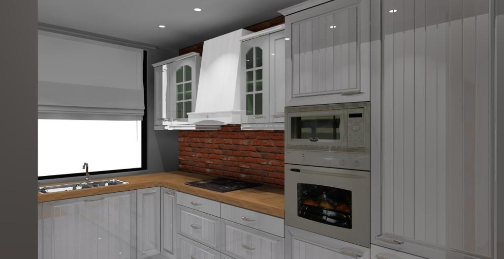 kuchnia-klasyczna-biała-drewno-cegla-czerwona-na-ścianie-zlew-pod-oknem
