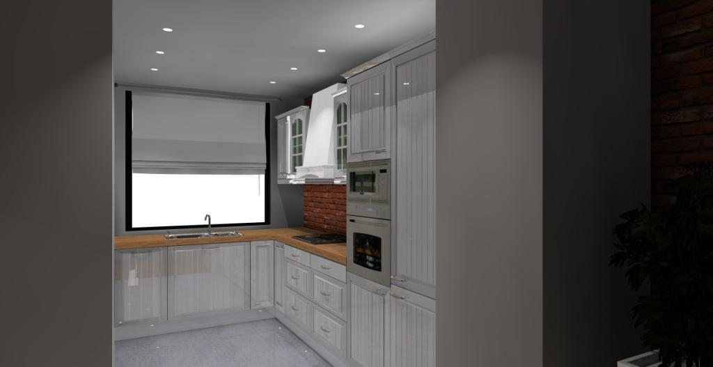 kuchnia-klasyczna-biała-drewno-cegla-czerwona-na-ścianie-zlew-pod-oknem-sufit-podwieszany-witryny