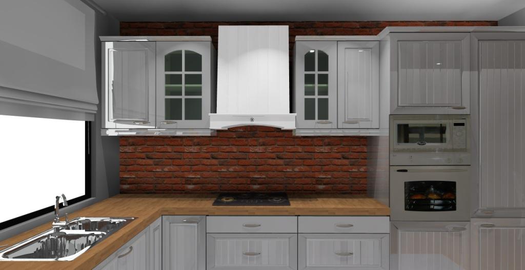 kuchnia-klasyczna-biała-drewno-cegla-czerwona-na-ścianie-zlew-pod-oknem-piekarnik-w-słupku-piekarnik-biały