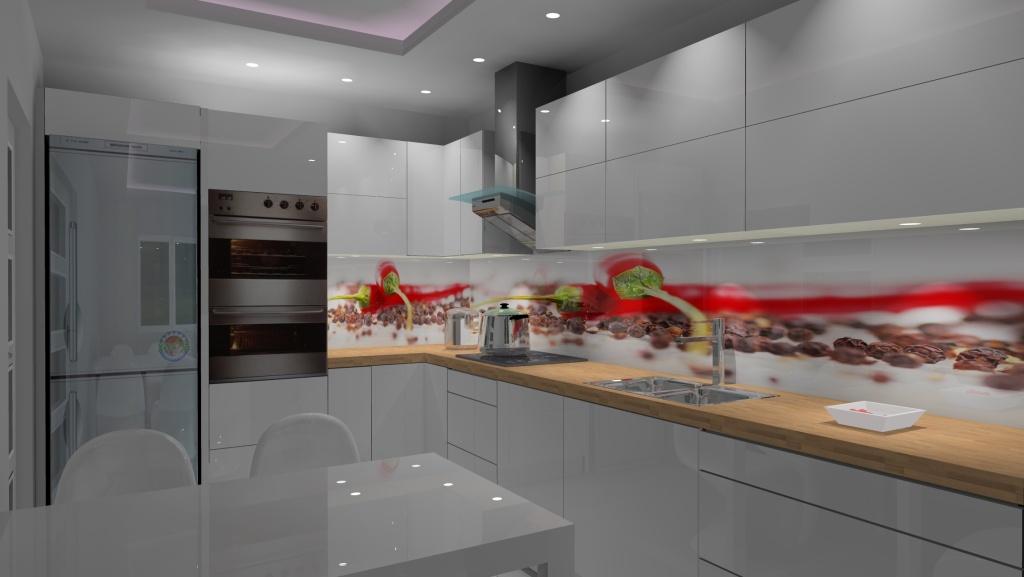 Kuchnia-biała-czerwona-fototapeta-papryczki-na-szkle-stół-biały