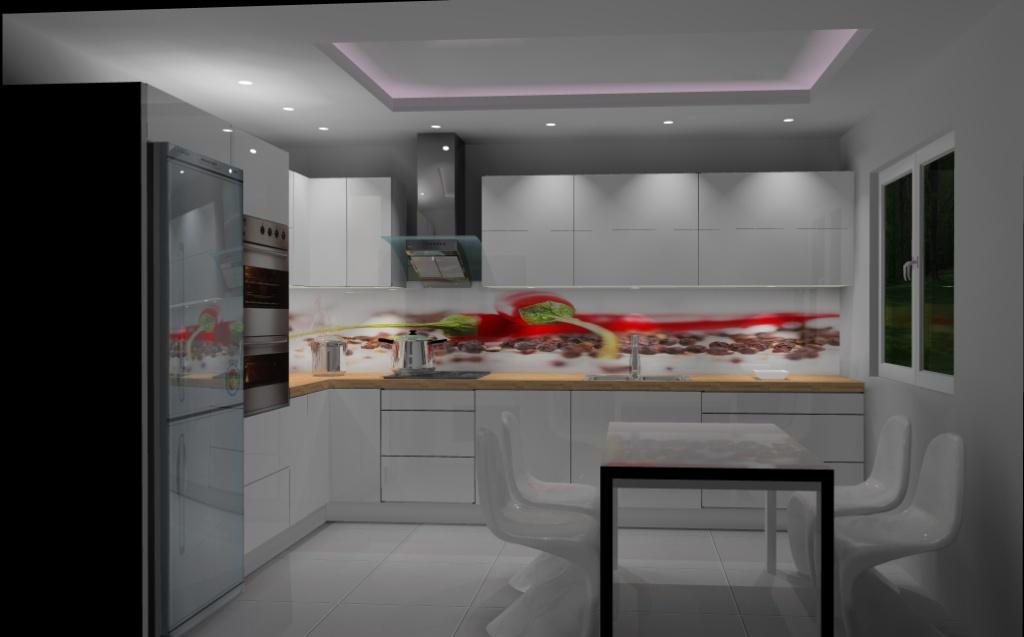 Kuchnia-biała-czerwona-fototapeta-papryczki-na-szkle-stół-biały-sufit-podwieszany