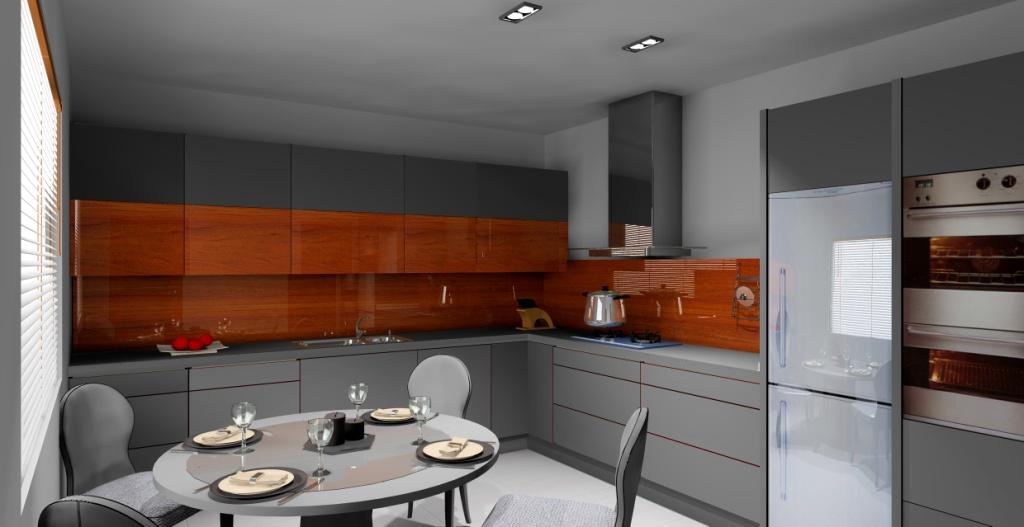 Aranżacja – projekt kuchni wystrój nowoczesny w kolorze szary, brąz, orzech a   -> Kuchnia Orzech Amerykanski Cena