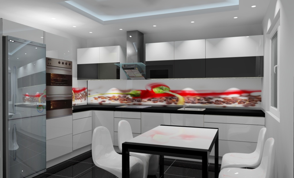 Aranżacja kuchni wystrój nowoczesny w kolorze biały