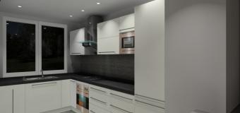Projekt / aranżacja kuchni wystrój nowoczesny w kolorze biały, grafit