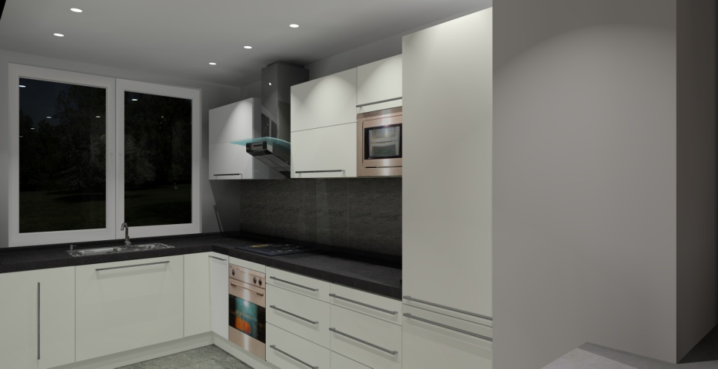Aranżacja kuchni wystrój nowoczesny w kolorze biały, grafit