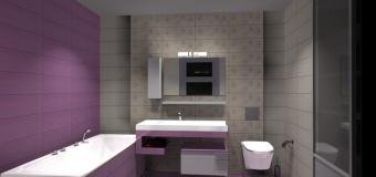 Projekt / aranżacja łazienki wystrój nowoczesny w kolorze krem, fiolet, płytki Opoczno Capri