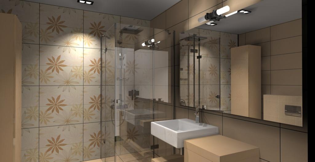 nowoczesna-łazienka-beż-biały-brąz-płytki-motyw-kwiaty-prysznic-narożny-szafka-drewno