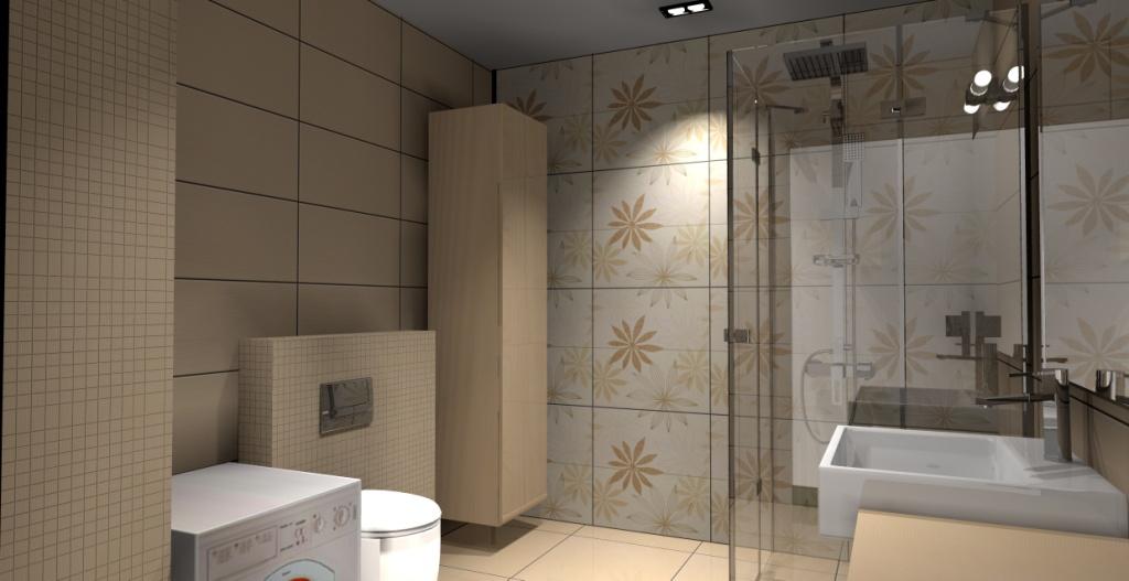 nowoczesna-łazienka-beż-biały-brąz-płytki-motyw-kwiaty-prysznic-narożny-szafka-drewno-pralka