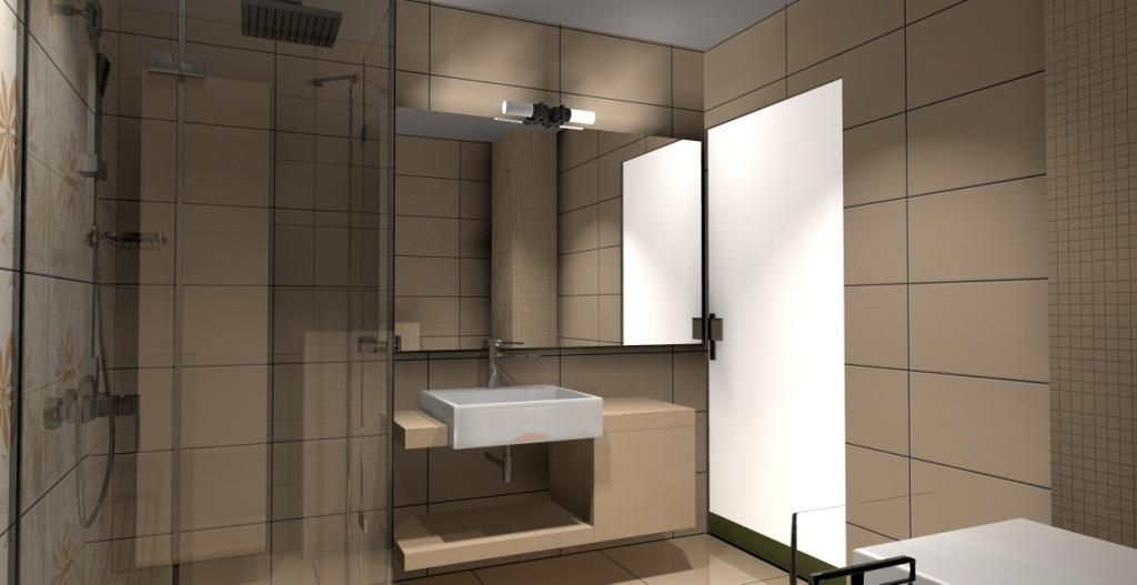 nowoczesna-łazienka-beż-biały-brąz-płytki-motyw-kwiaty-prysznic-narożny-szafka-drewno-duże-lustro