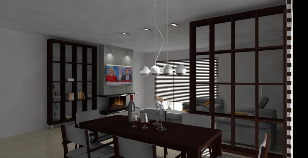 Salon-loft-szary-drewno-brąz-kominek-stół-regał-na-książki-drewno