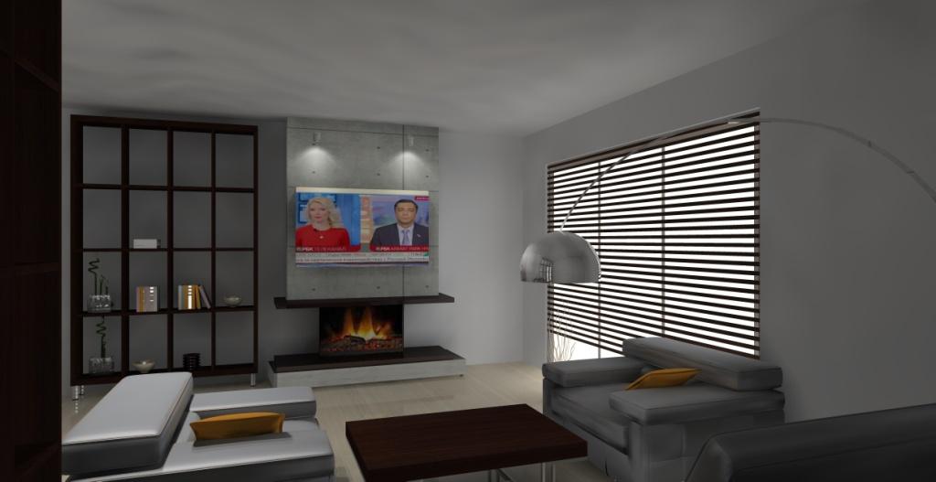 Salon-loft-szary-drewno-brąz-kominek-stół-regał-na-książki-drewno-telewizor-nad-kominkiem