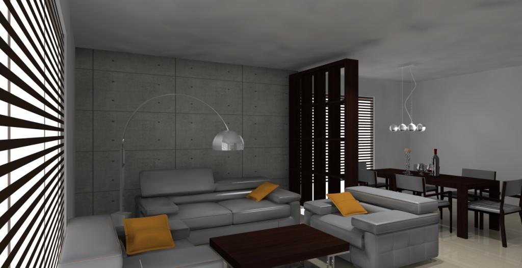 Salon-loft-szary-drewno-brąz-kominek-stół-regał-na-książki-drewno-płyty-betonowe-na-ścianie