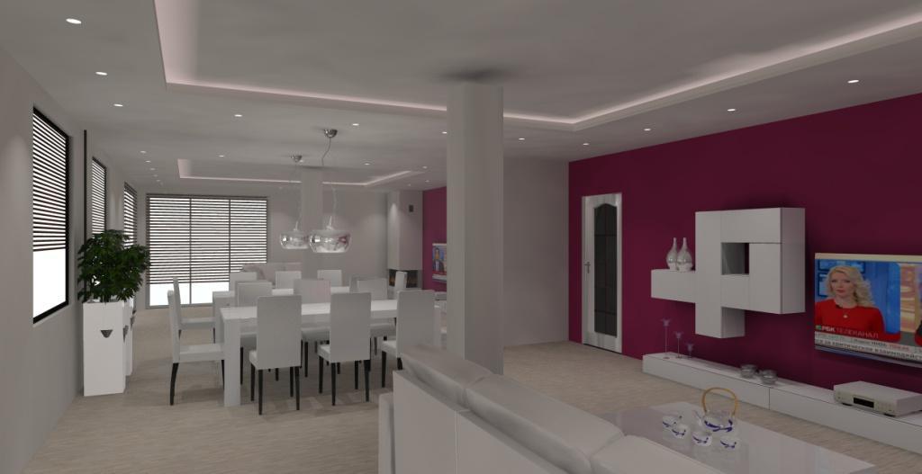 projekt-aranzacja-salon-nowoczesny-meblościanka biała-ściana-tv-mus-jagodowy-stół-biały