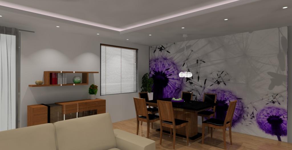 Nowoczesny-salon-brąz-be-fiolet-fototapeta-na-ścianie, stół-czarny-komoda-drewno