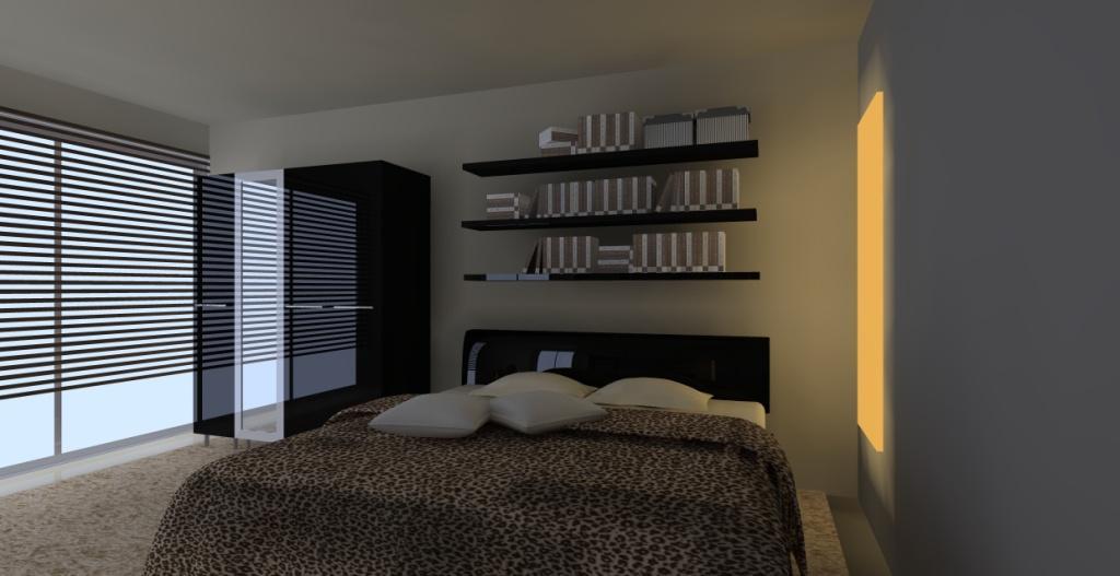Sypialnia-czarny-braz-bez-łóżko-półki-nad-łóżkiem