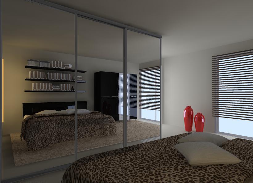 Sypialnia-czarny-braz-bez-łóżko-półki-nad-łóżkiem-szafa-z-lustrem