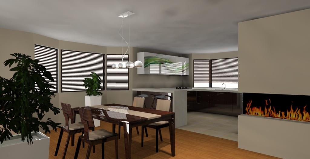 nowoczesny-salon-z-aneksem-kuchennym-biały-drewno-beż-barek-stół-kominek-lodówka-srebna-lampy-nad-stołem