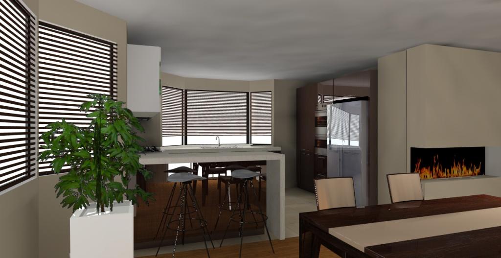 nowoczesny-salon-z-aneksem-kuchennym-biały-drewno-beż-barek-stół-kominek-lodówka-srebna