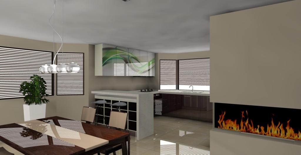 nowoczesny-salon-z-aneksem-kuchennym-biały-drewno-beż-barek-stół-kominek-lodówka-srebna-kuchnia-biała-grafika-fale