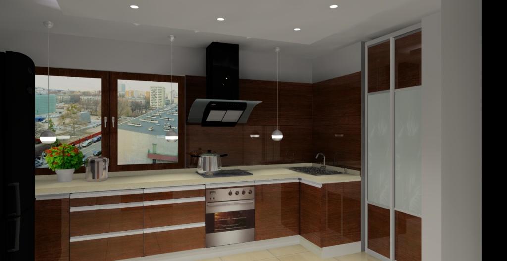 Kuchnia, beż, brąz, płytki beż, drewno na ścianie