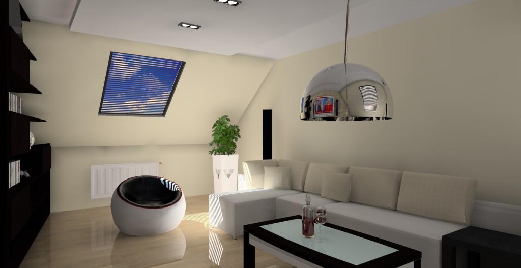 projekt-aranzacja-salonu-kinowego-na-poddaszu-wystroj-nowoczesny-w-kolorze-braz-puff-kanapa-narożna