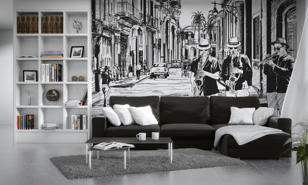 salon, kanapa czarna, fototapeta, regał biały