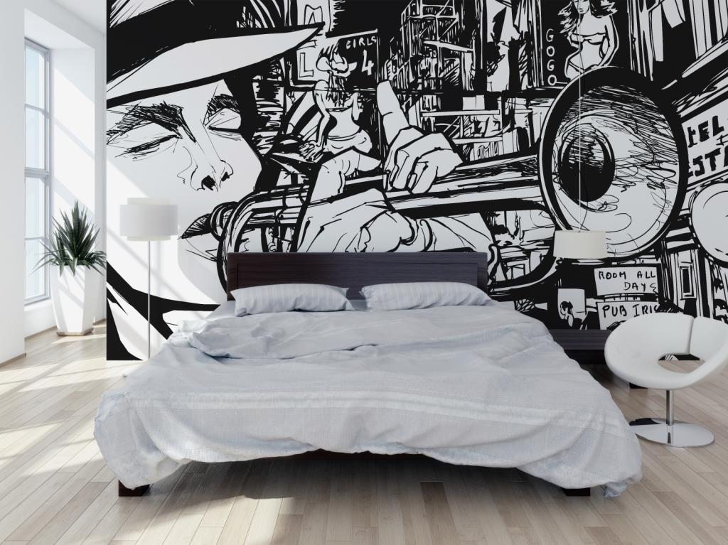 sypialnia, łóżko, fototapeta