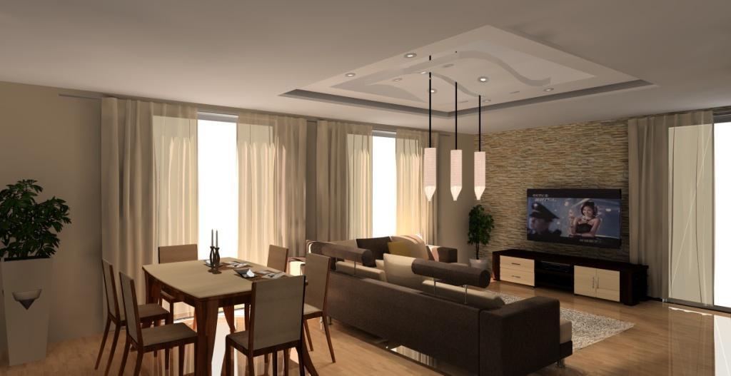 aranzacja-projekt-salonu-z-aneksem-kuchennym-wystroj-nowoczesny-w-kolorze-braz-bez-stół-sufit-podwieszany