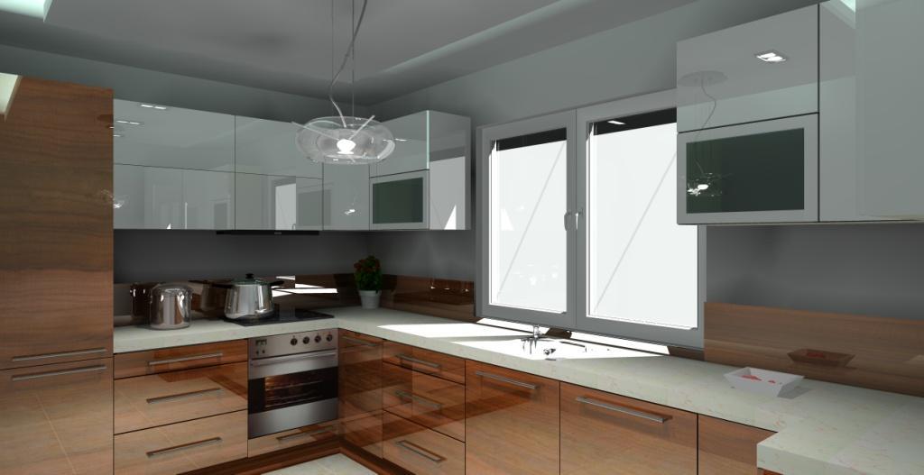 Aranżacja kuchni wystrój nowoczesny w kolorze biały, beż, brąz