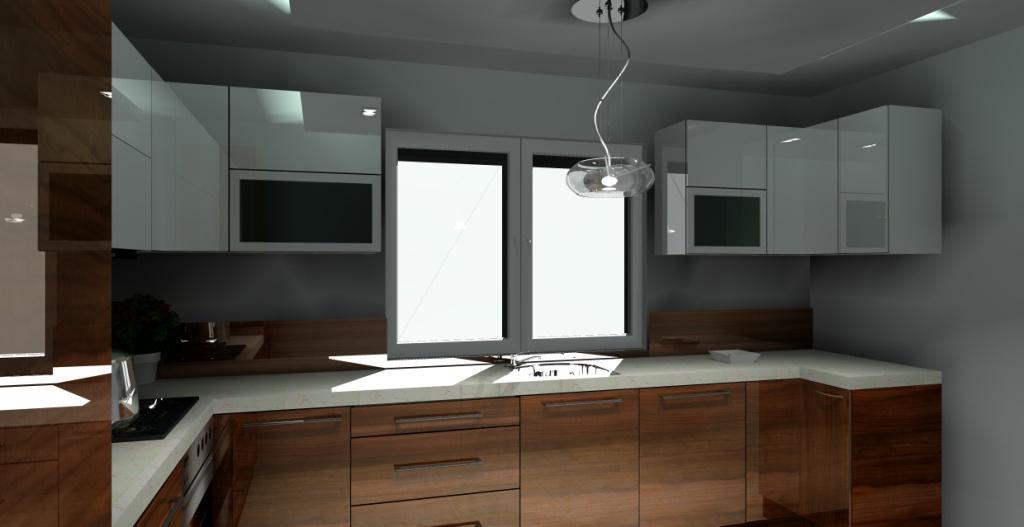 projekt-aranzacja-kuchni-wystroj-nowoczesny-w-kolorze-bialy-bez-braz-białe szafki górne-dole-drewno