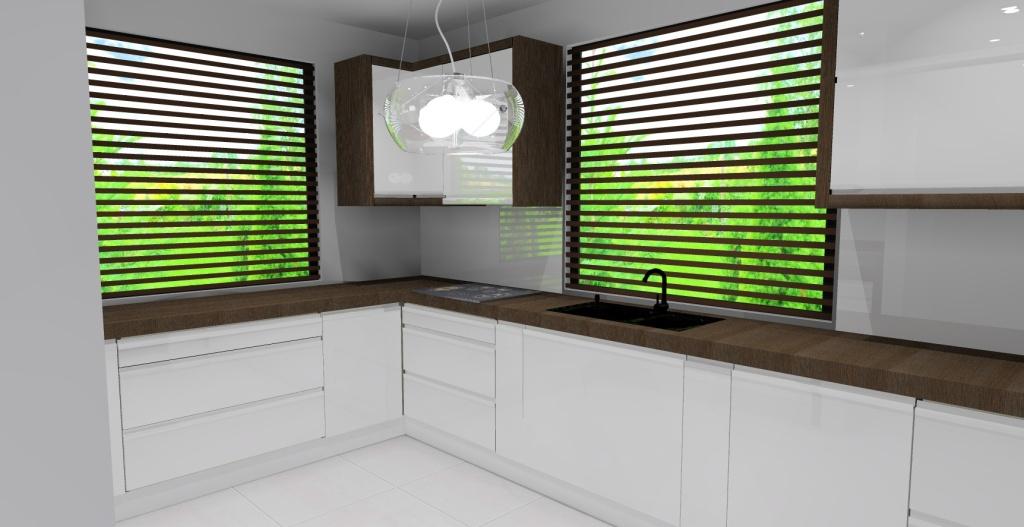 Kuchnia biała, drewno, zlew pod oknem czarny