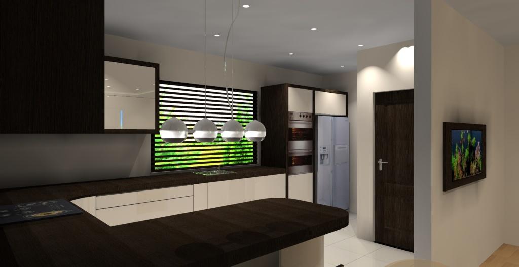 kuchnia wanilia, drewno, brąz, okno, kuchnia połysk