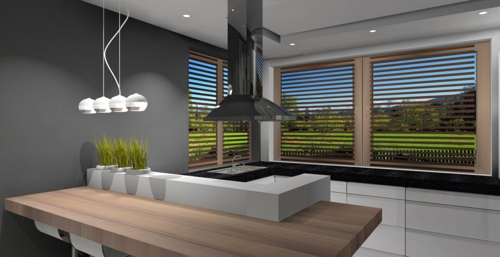 Kuchnia-okno-narożne-barek-lampy-nad-barkiem-okap-wyspowy