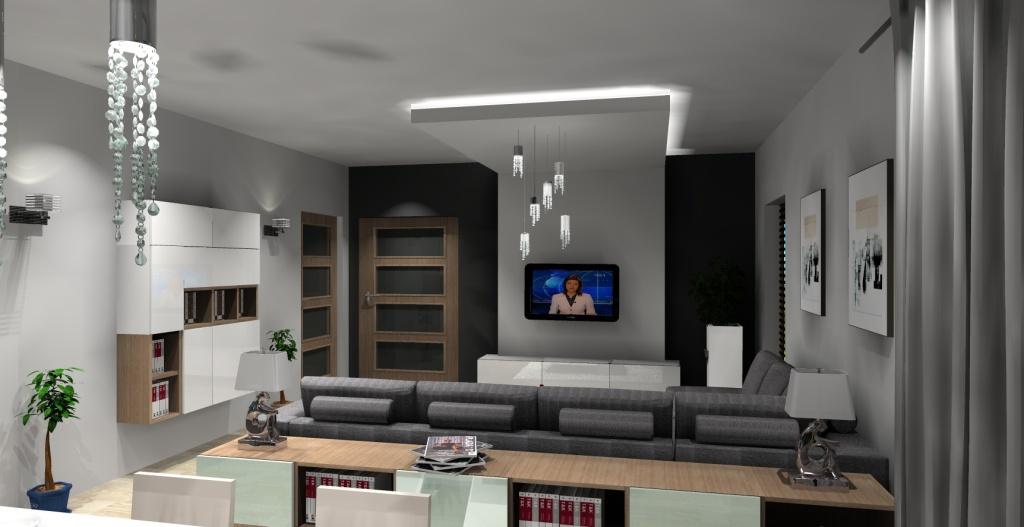 Salon szary, biały, drewno, szafki biały połysk, ściana tv karton gips, szafki za narożnkiem