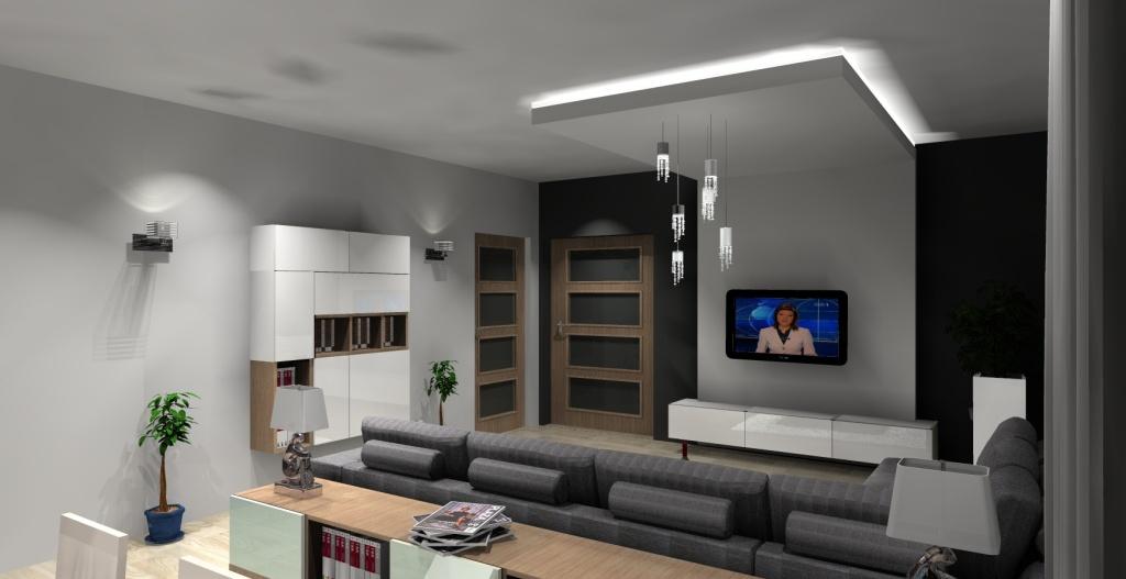 salon biały, szary, drewno, tv na scianie, szafka podwieszana, stół