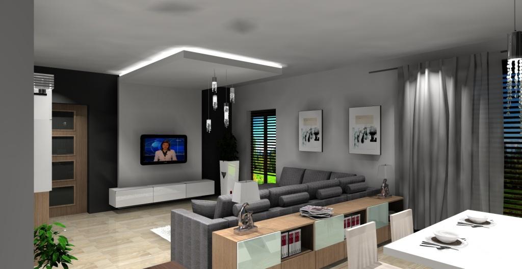 Salon biały, szary, drewno, Szafki za kanapą ze szkłem, kanapa, narożna, stół biały