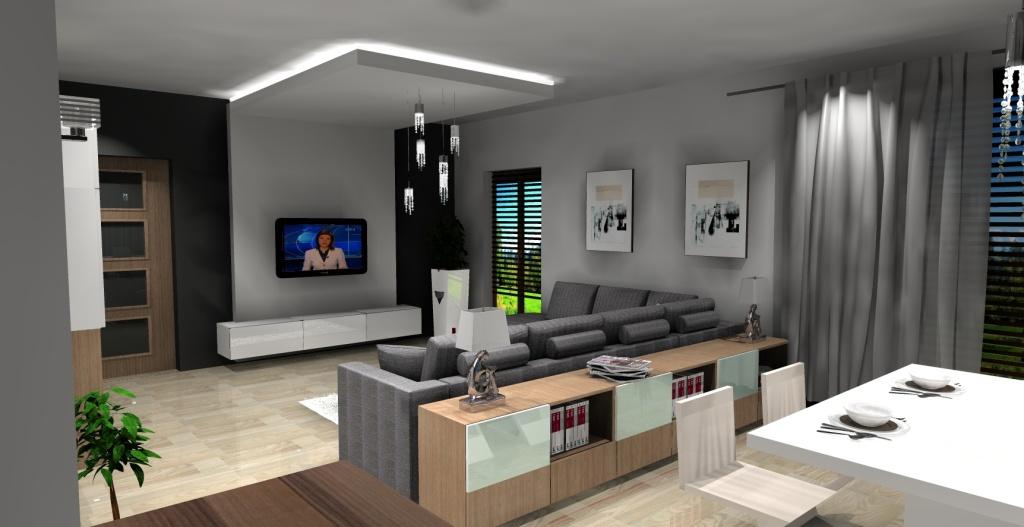 salon, biały, szary, drewno, ściana z tv karton gips, podwieszany sufit