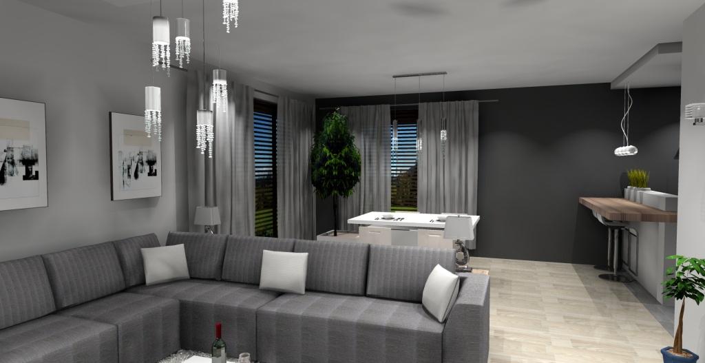 Salon nowoczesny, szary, biały, narożnik, stół, krzesła