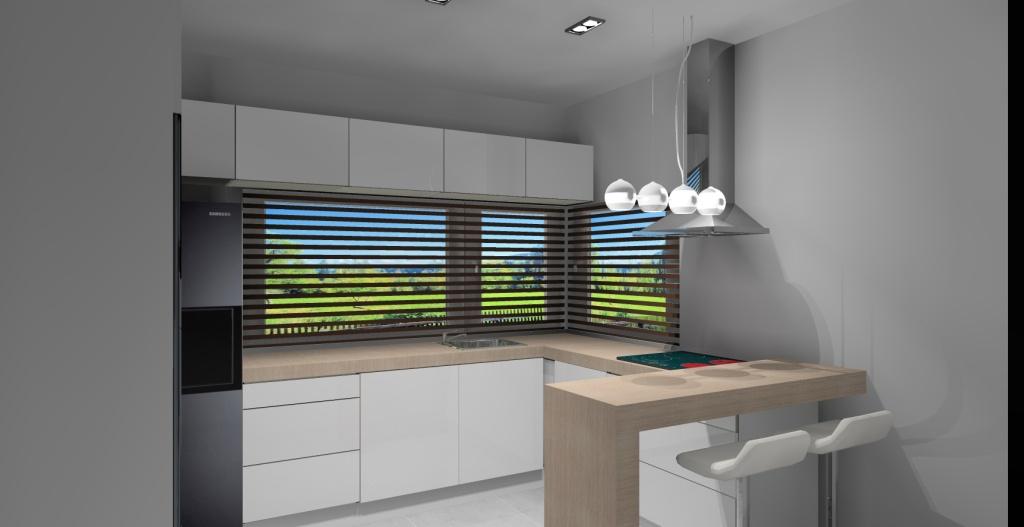 Kuchnia-biała-szafki-nad-oknem-blat-drewno-barek-sufit-podwieszany