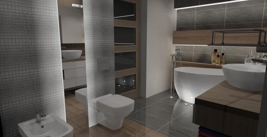 łazienka szary, drewno, wanna wolnostojąca, lustro na ścianie, geberit