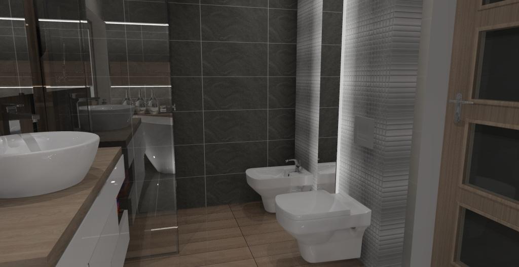 łazienka, płytki na podłodze drewno, płytki na scianie szare