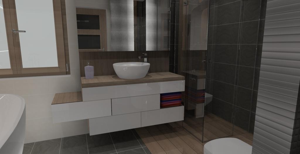 łazienka-szafka-pod-umywalkę-biały-połysk-blat drewno