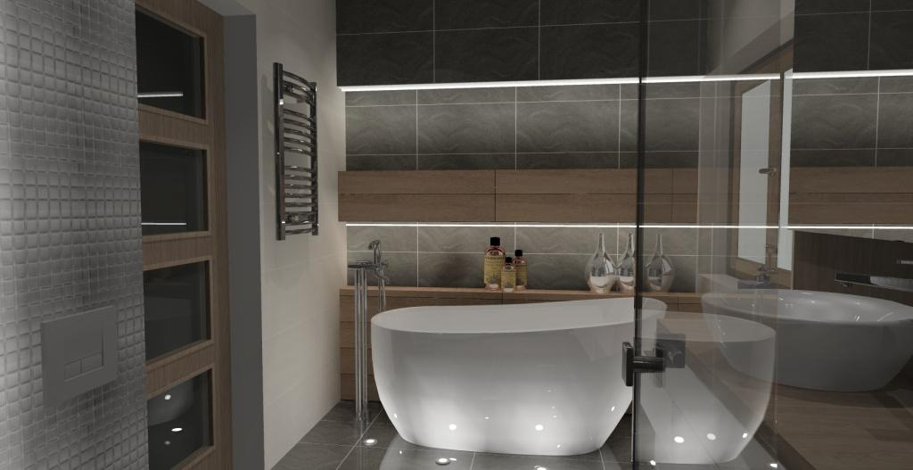 łazienka-szary-biały-drewno-srebny-półki nad wanną w ścianie