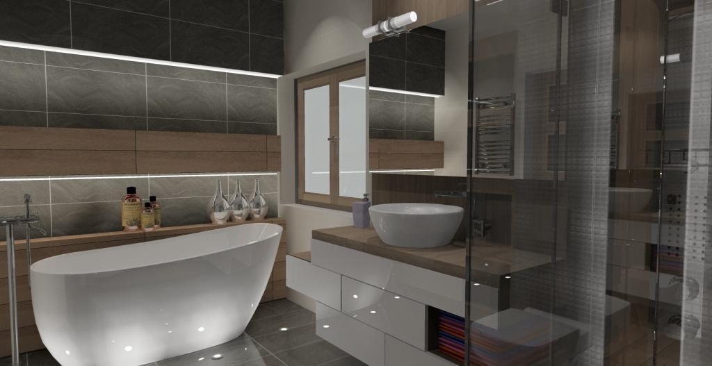 łazienka-szary-biały-drewno-oświetlenie-wanny