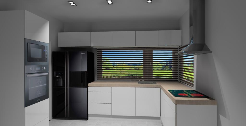 Kuchnia-biała-piekarnik-czarny-lodówka-czarna-okno-narożne