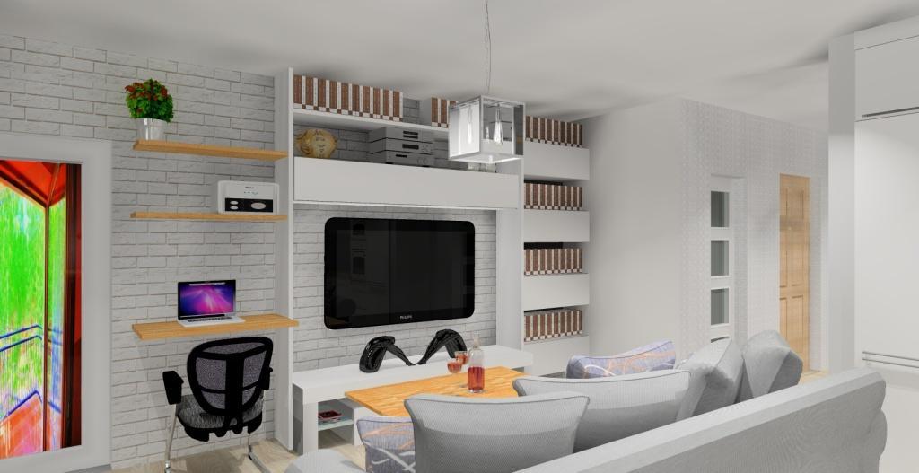 Szaro-biały salon w stylu skandynawskim, meblościanka, pólki na książki, stolik kawowy