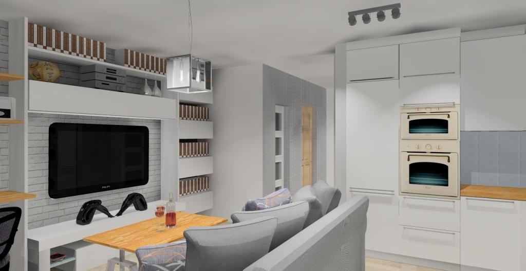 Szaro-biały salon w stylu skandynawskim, meble kuchenne białe, sofa, stolik kawowy