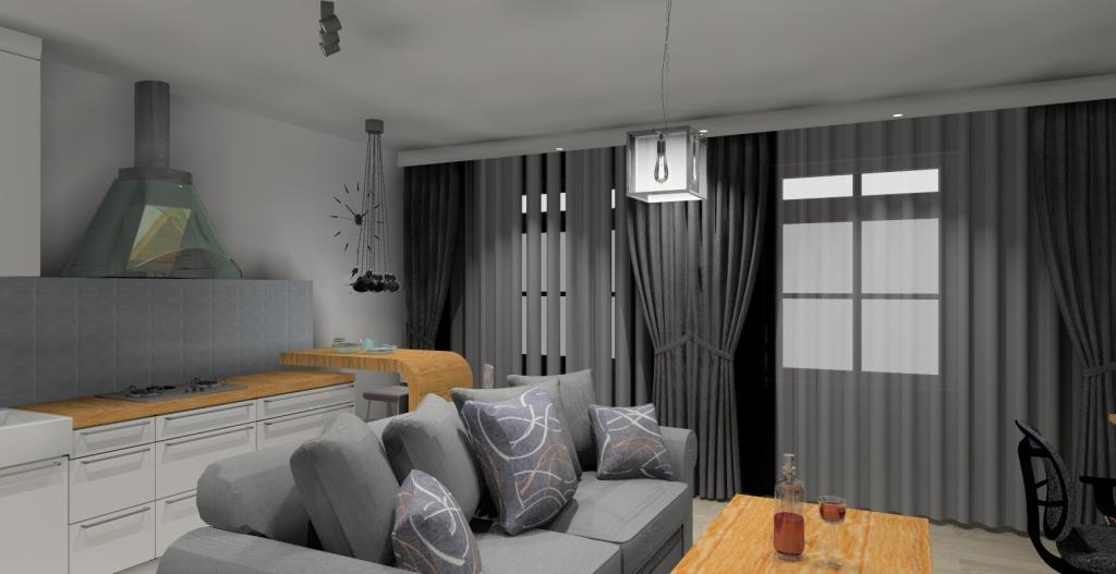 Szaro-biały salon w stylu skandynawskim, stolik kawowy, sofa