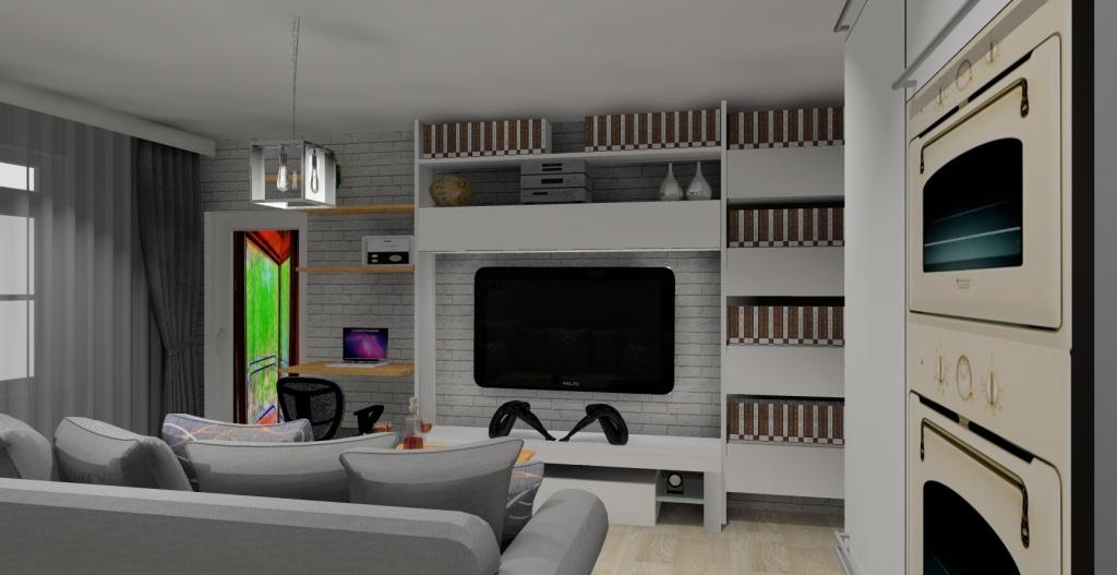 Szaro-biały salon w stylu skandynawskim, szafka rtv biała